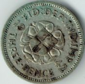 George VI, Silver (.500), Threepence 1942 (For Colonial Use), F, M9073